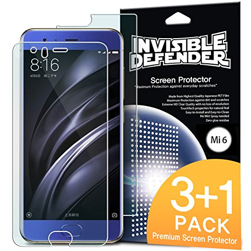 Xiaomi Mi 6 Protector - Invisible Defender [3 Front and 1 Back/MAX HD CLEARNESS][Case Compatible] Pe