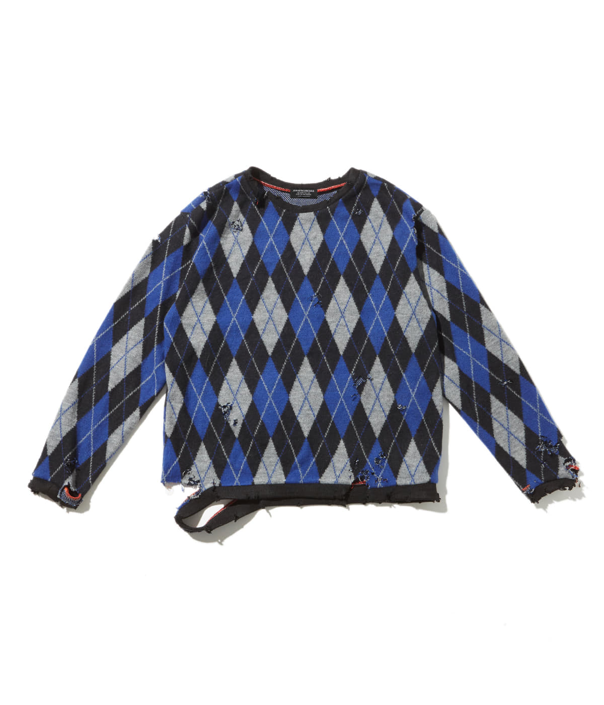 Distressed argyle knit (Blue/Black)