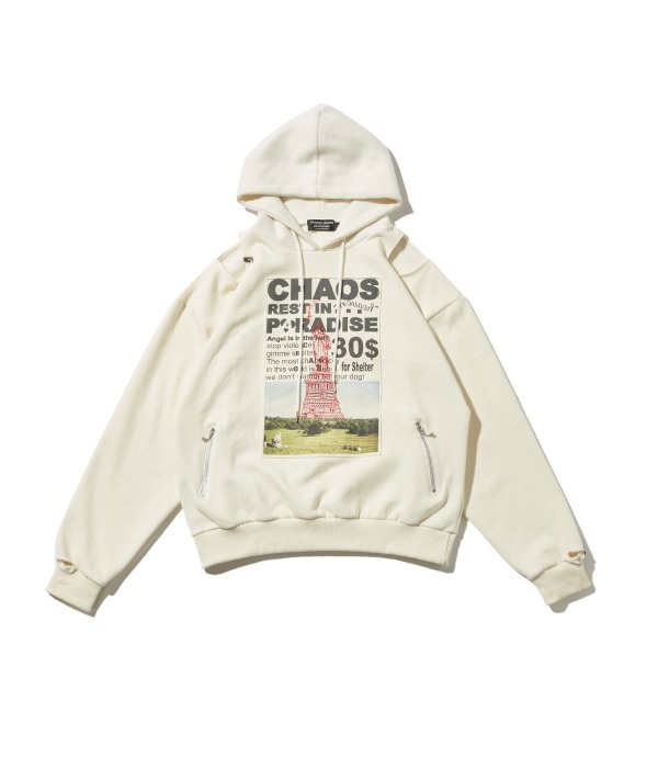 Patched & Inside-out hoodie (Ivory)