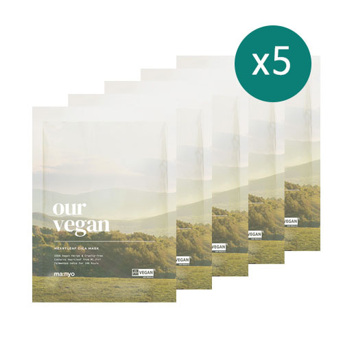 MANYO FACTORY Our Vegan Heartleaf Cica Mask 5 Sheets