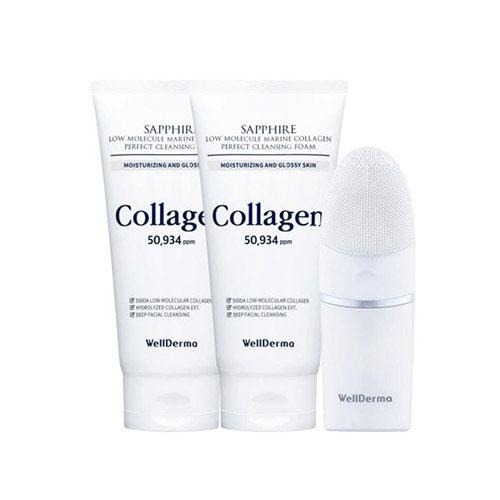 Wellderma Sapphire Low Molecule Marine Collagen Cleansing Duo (150ml * 2ea + Electric Brush 1ea)