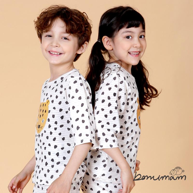 [보누맘]레오파드 아이보리 7부 쟈가드 상하세트 아동내의,실내복,7부내의,5부내의,민소매,어린이집옷,보누맘,동물원내의,보누맘한복,아동한복,전통한복