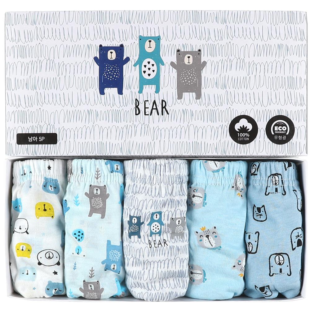 [보누맘]남아용팬티 5P세트-곰세마리 무형광 순면100% 아동내의,실내복,7부내의,5부내의,민소매,어린이집옷,보누맘,동물원내의,보누맘한복,아동한복,전통한복