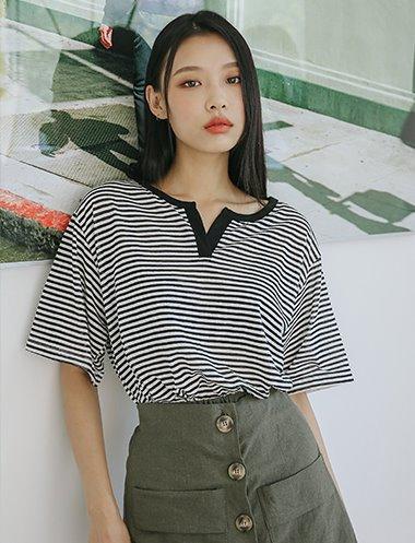모나코 V단가라 티셔츠 TS7337