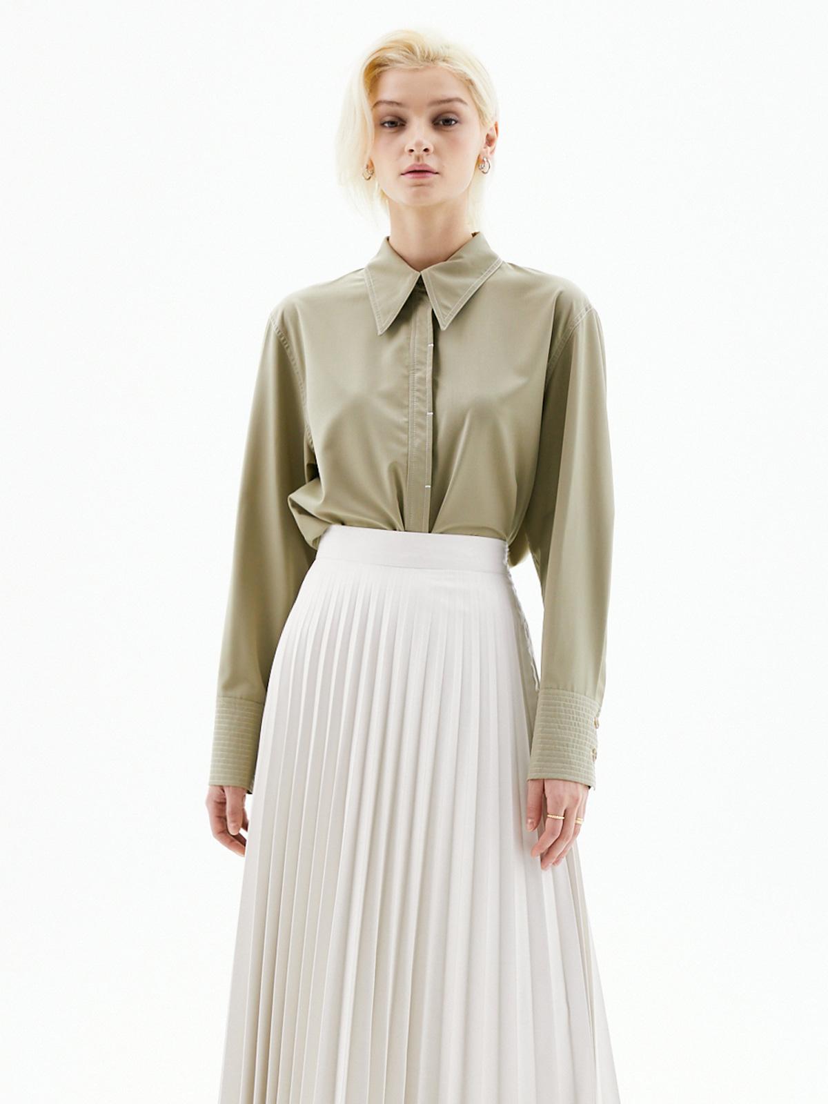 Julie Collar Stitch Blouse_Khaki