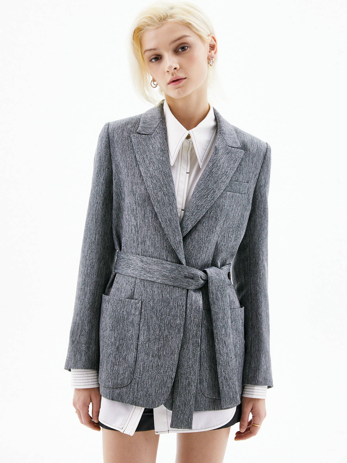 Stacey Button Belted Jacket_Charcoal