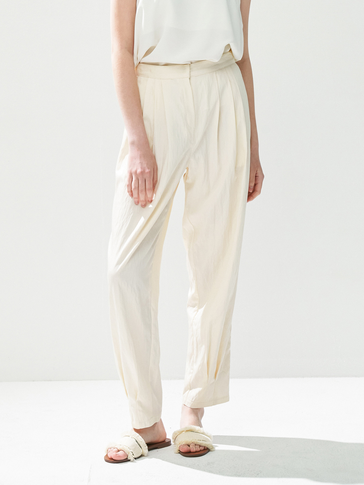 Zoe Tapered Banding Pants_Ivory