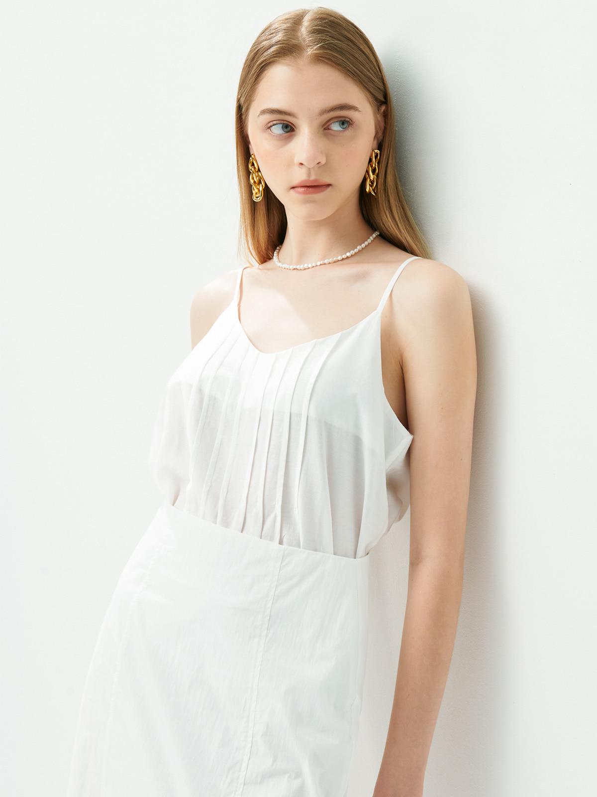 Mariel Pintuck Sleeveless Top_White