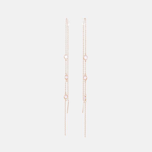 슈네 스몰 라운드 핑크 오팔 체인 드롭 귀걸이
