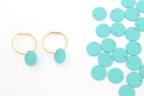 Matte turquoise coated 8mm coin disc