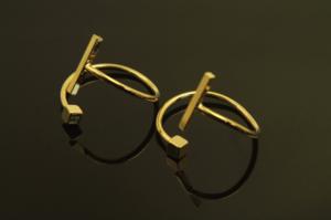 [T47-P3]큐브앤스틱 반지, 2개, 무니켈, 골드도금, 사이즈 18mm