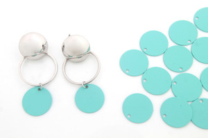 Matte turquoise coated 15mm coin disc