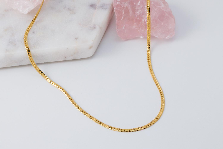 [N5114-G1]ㅇ플랫 체인 목걸이, 43cm, 골드도금, 무니켈, 1개