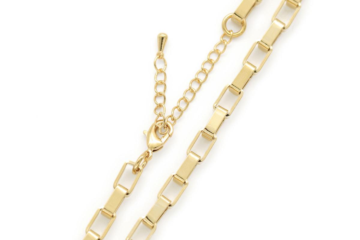 [N5006-G1]사각 링크 목걸이, 1 piece, 43cm, 골드도금, 무니켈