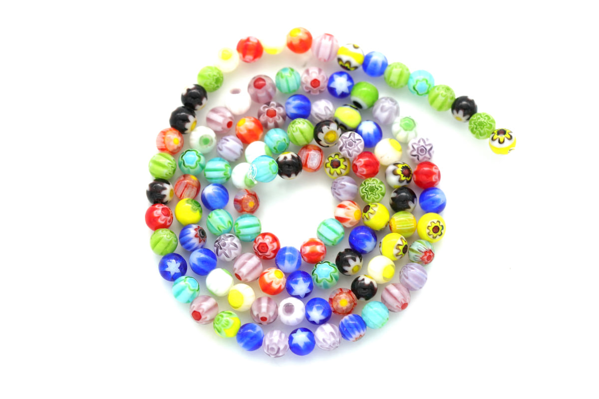 [P6-R5]Multi colored glass beads, 1 strand (approx. 100 pcs), 4mm beads, Jewelry making beads, Colorful beads, Rainbow beads