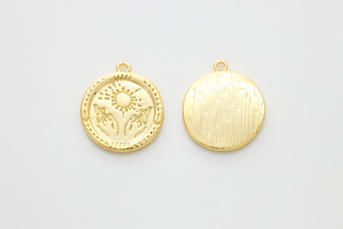 [Q16-G5] Sun hand pendant, Brass, Nickel free, Unique pendant, Coin charm, Round pendant, Jewelry making supplies, 1 piece