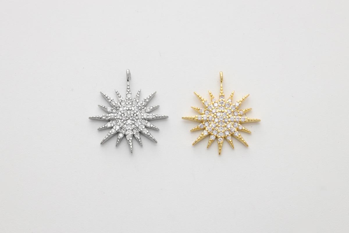 [N34-VC1] Cubic burst charm, Brass, CZ, Nickel free, Dainty pendant, Unique charm, Jewelry making supplies, 1 piece (N34-G1, N34-G1R)