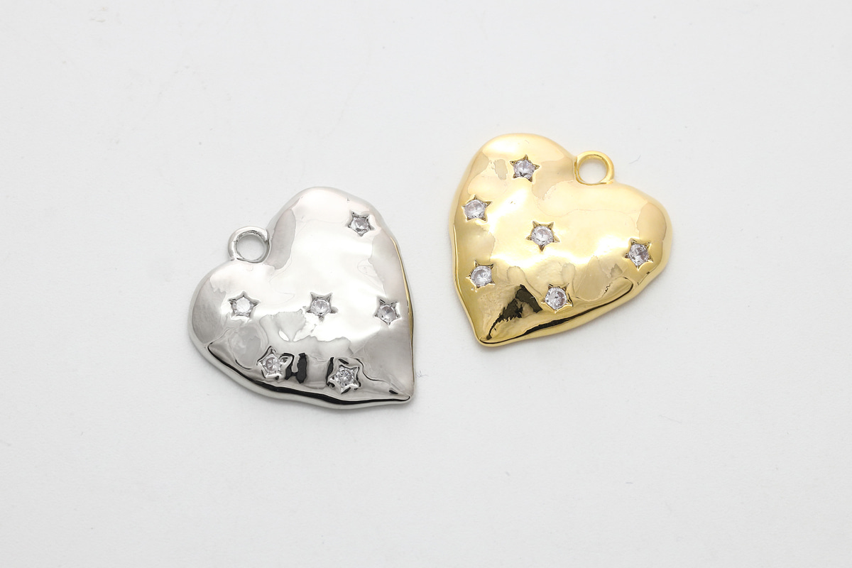 [Q18-VC3] Hammered heart cubic pendant, Brass, Cubic zirconia, Nickel free, Heart pendant, Unique charm, Jewelry making supplies, 1 piece (Q18-R1, Q18-R1R)