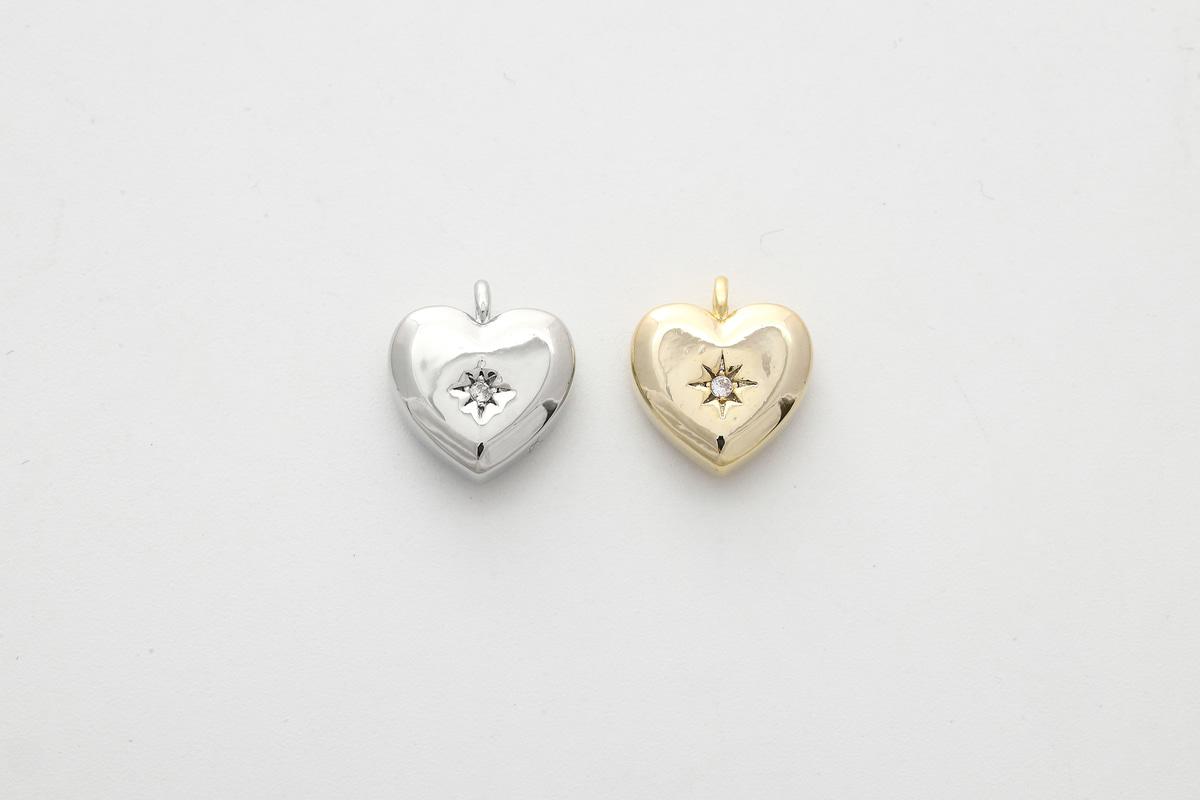 [N29-VC2] Cubic heart charm, Brass, Cubic zirconia, Nickel free, Heart pendant, Jewelry making supplies, 1 piece