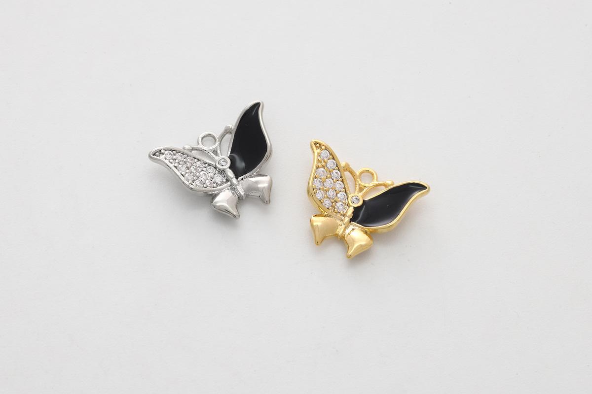 [P2-VC6] Cubic & epoxy butterfly charm, Brass, Cubic zirconia, Epoxy, Unique charm, Jewelry making supplies, 1 piece (P2-G18, P2-G18R)