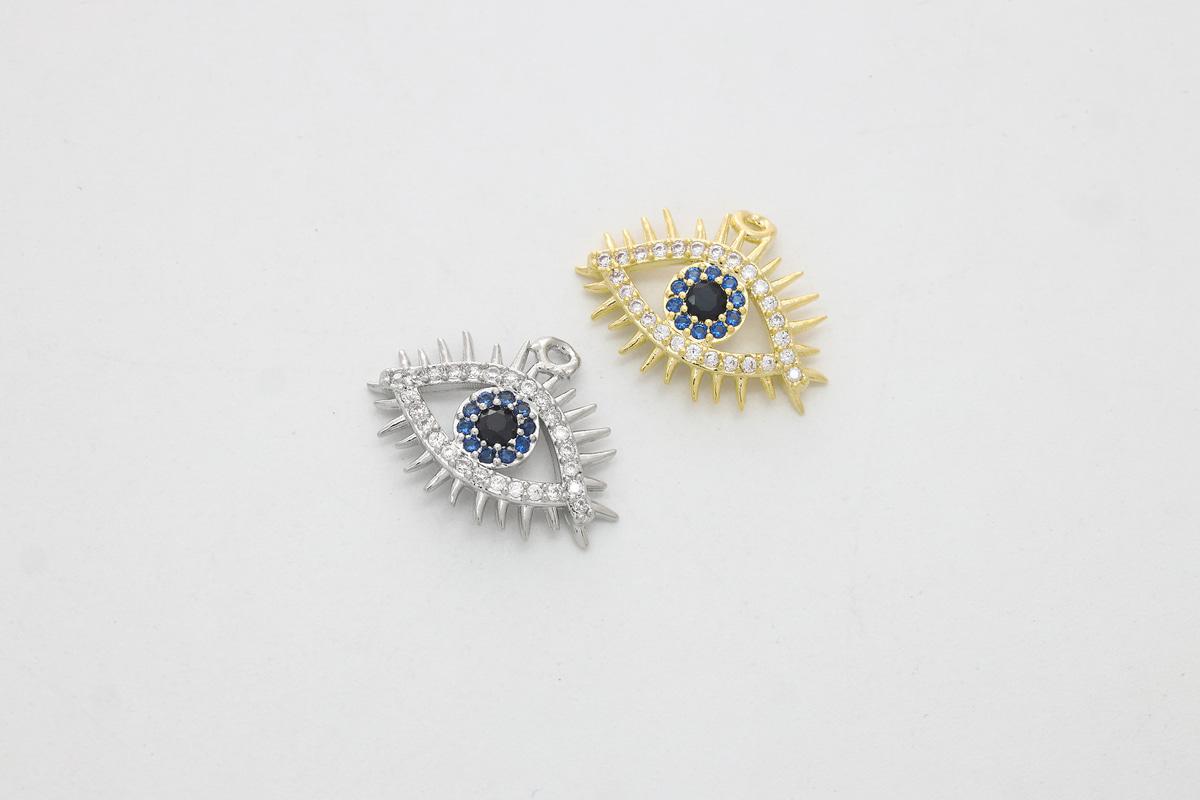 [Q17-VC8] Blue eye cubic charm, Brass, Cubic zirconia, Unique pendant, Dainty charm, Evileye charm, Jewelry making supplies, 1 piece (Q17-R2, Q17-R2R)