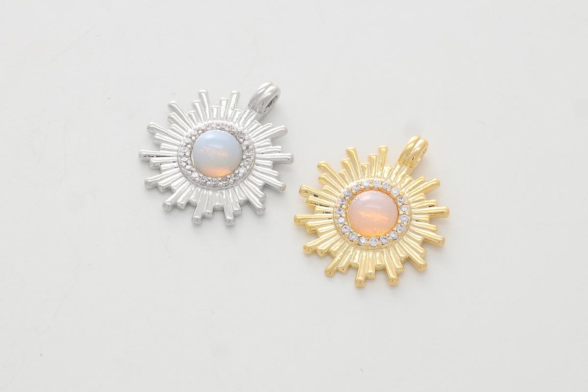 [Q17-VC9] Dainty round glass charm, Brass, CZ, Glass, Nickel free, Dainty charm, Unique charm, Jewelry making supplies, 1 piece (Q17-G4, Q17-G4R)
