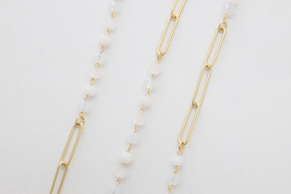 [CJ11-05] Glass beaded clip chain, Glass, Brass, Nickel free, Dainty chain, Jewelry making supplies, Wholesale jewelry, 1m