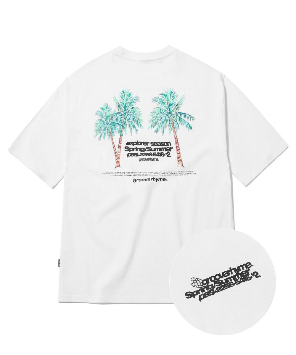 PALMTREE PRINT T-SHIRTS (WHITE) [GTS762I23WH]
