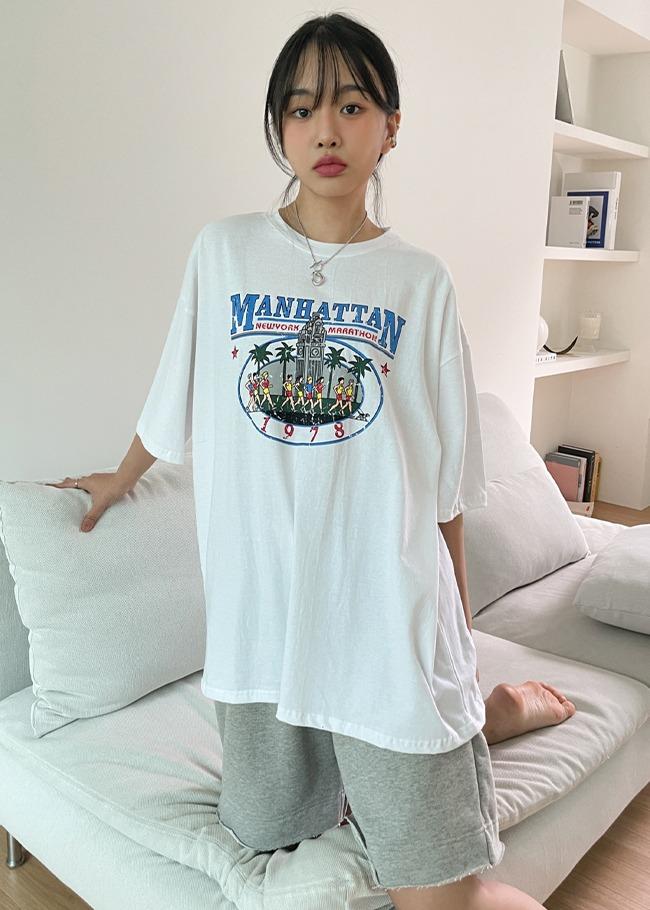 马拉松印花宽松短袖T恤