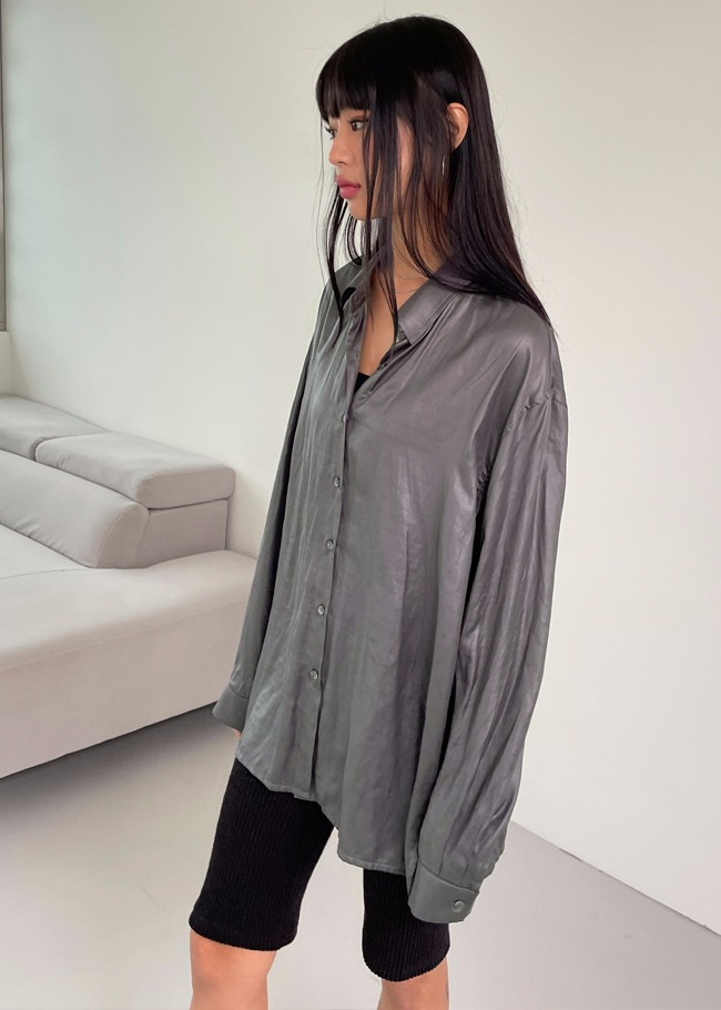 Glossy Button-Up Shirt