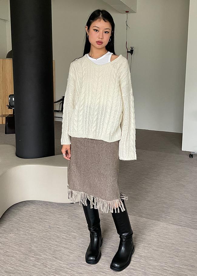 Herringbone Fringe Hem Skirt