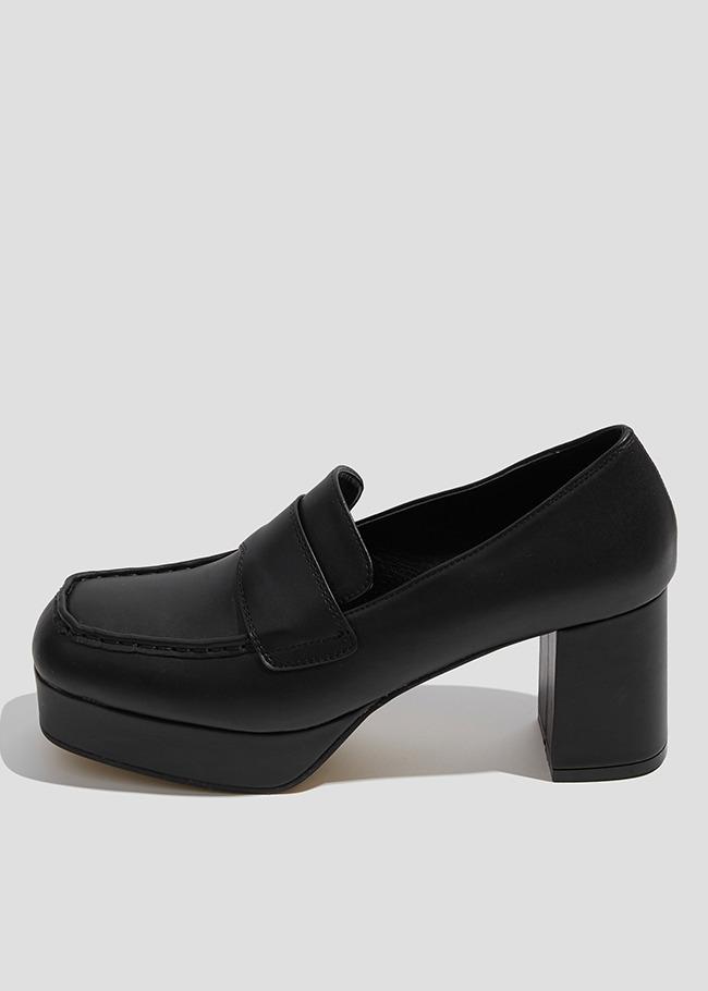 平头防水台粗跟鞋