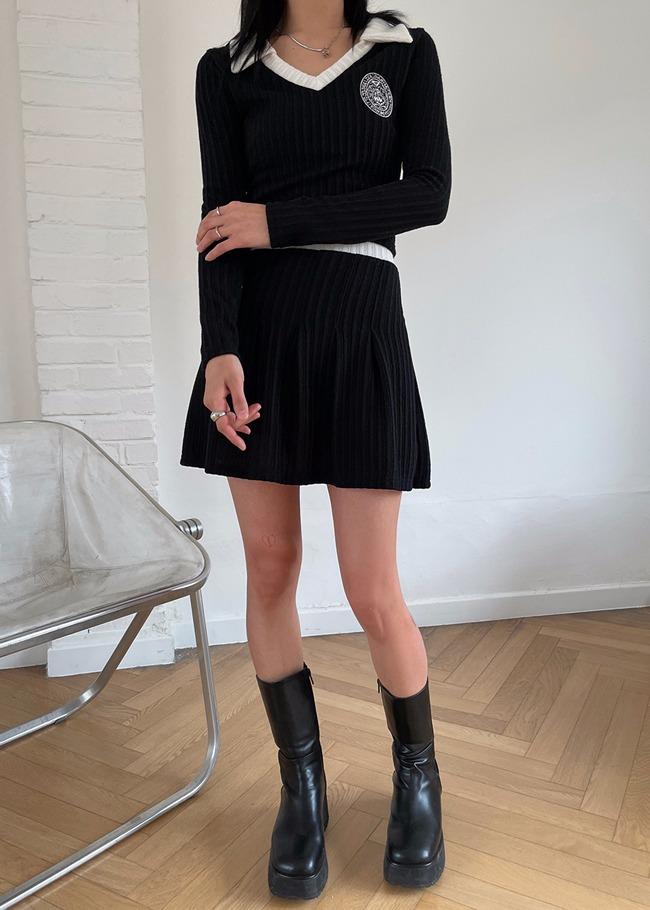 翻领针织衫松紧腰迷你裙两件套