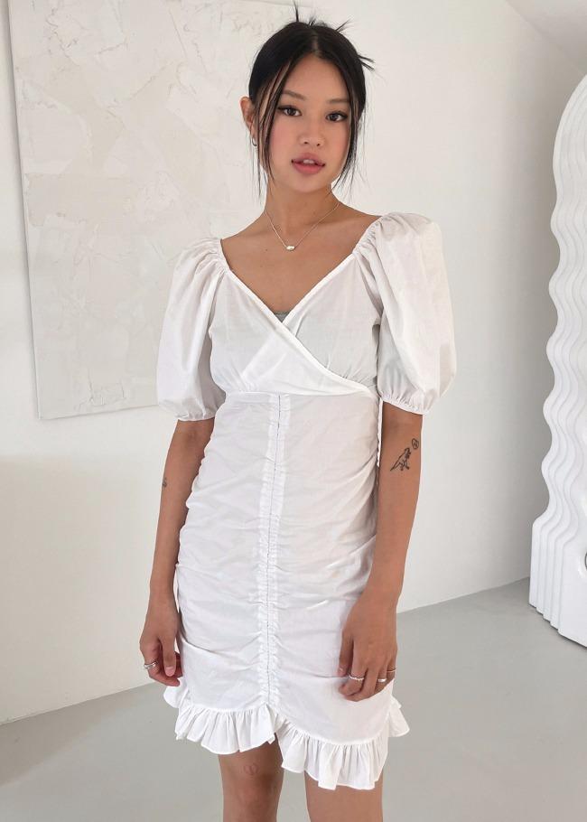 Surplice Neck Puff Sleeve Mini Dress