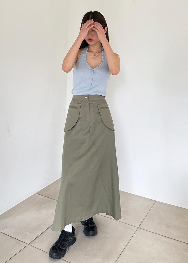后松紧腰口袋亚麻混纺半身长裙