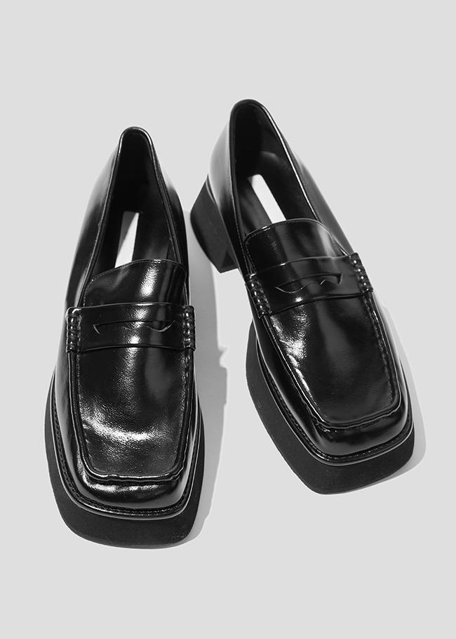DARKVICTORY百搭素面方頭中跟樂福鞋
