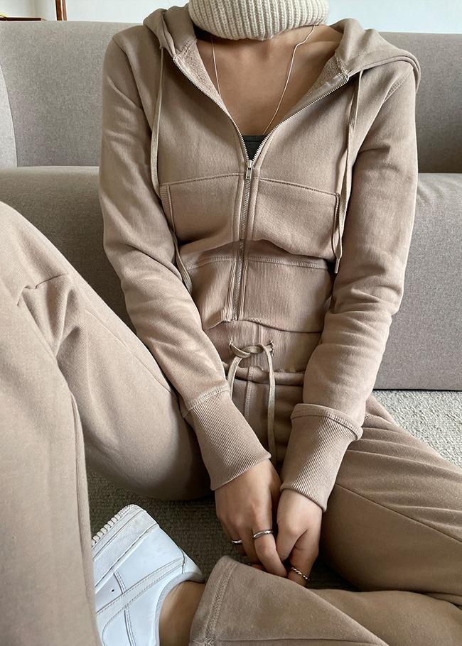 纯色弹力拉链外套运动裤两件套
