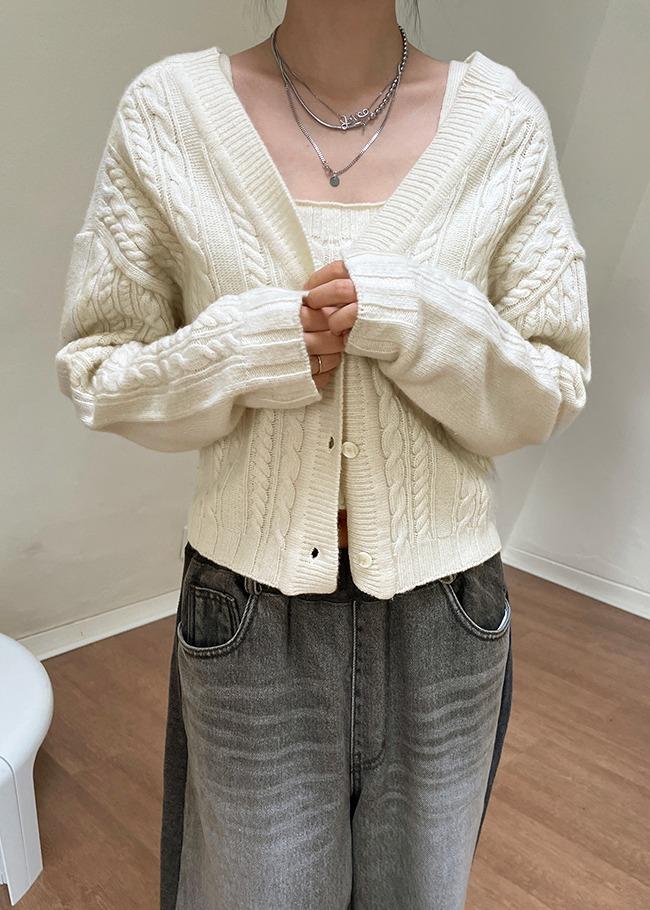 深V领麻花纹落肩针织开衫