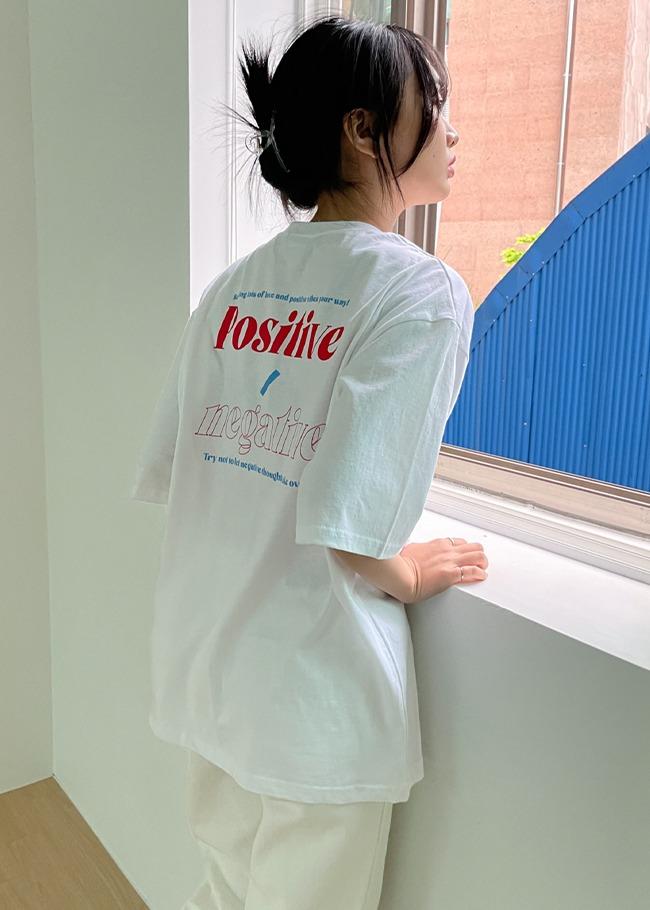 POSITIVE Lettering Print Boxy T-Shirt