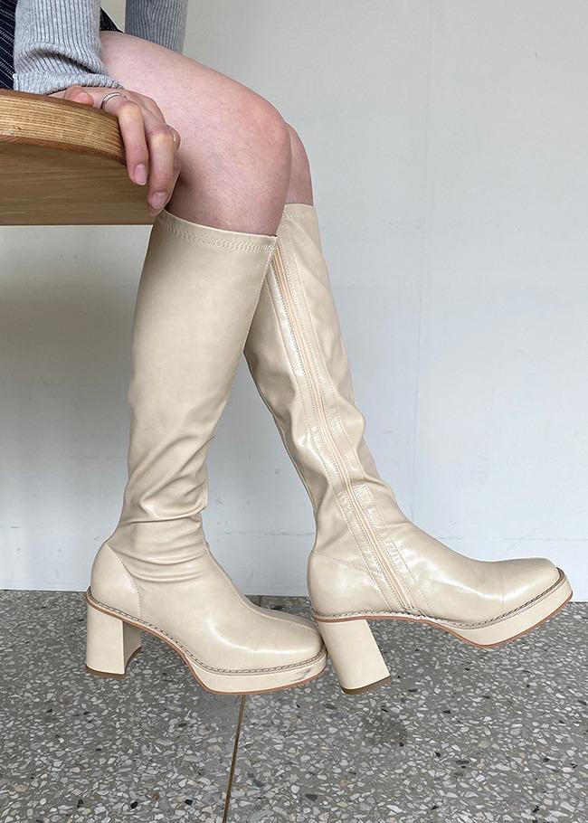 DARKVICTORY百搭款側拉鍊高跟皮革長靴