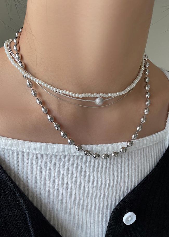 DARKVICTORY[套裝]仿珍珠鍊蛇骨鍊項鍊套組