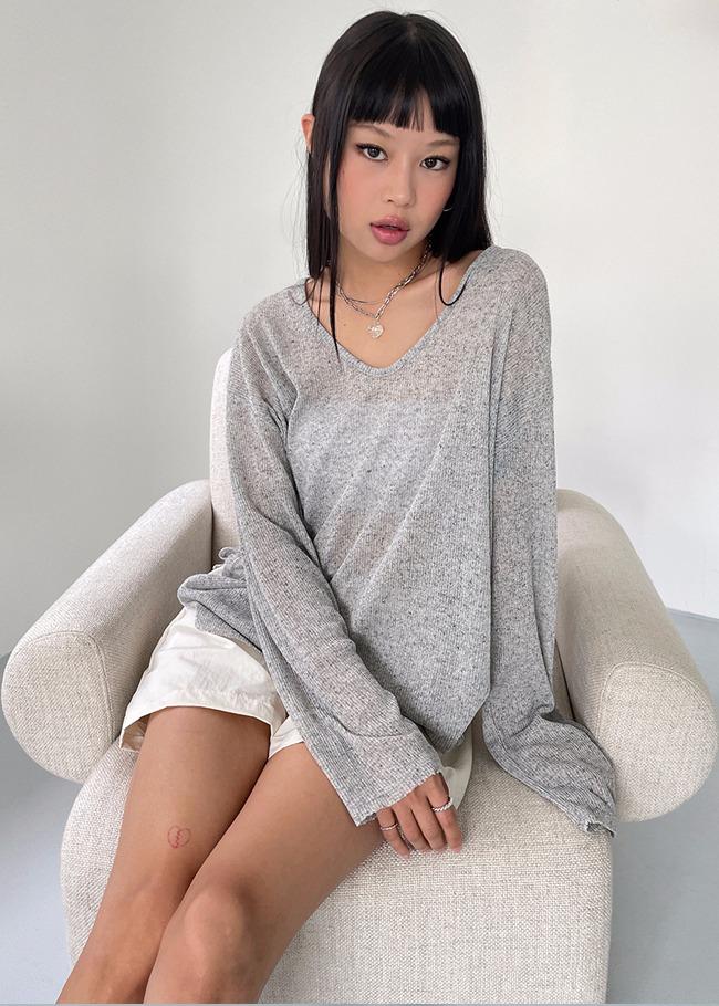 Semi-Sheer Loose Knit Top