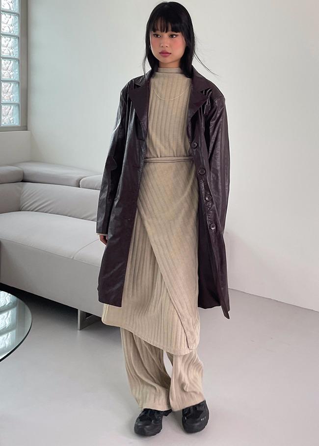 DARKVICTORY[套裝]坑條紋裹身式洋裝寬褲套裝