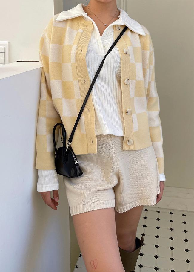 圆领格纹羊毛混纺针织开衫