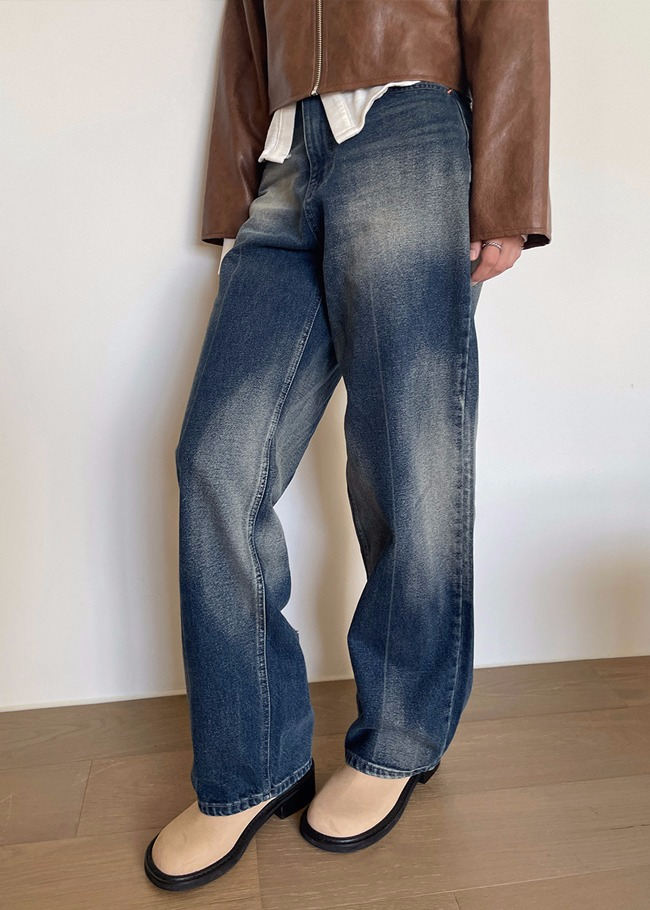Washed Detail Wide Leg Jeans