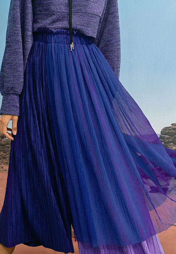 [SS20] Triple pleated long skirt
