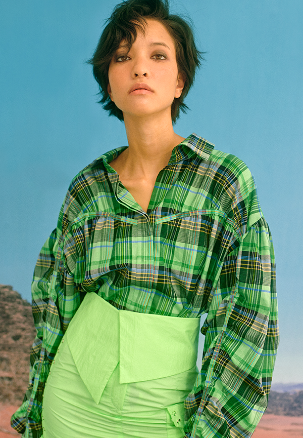 [SS20] Puff-sleeve checked print oversized blouse