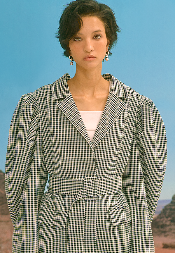 [SS20] Puff-sleeve oversized check blazer