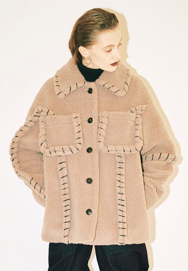 [FW20] Stitch detail shearling coat