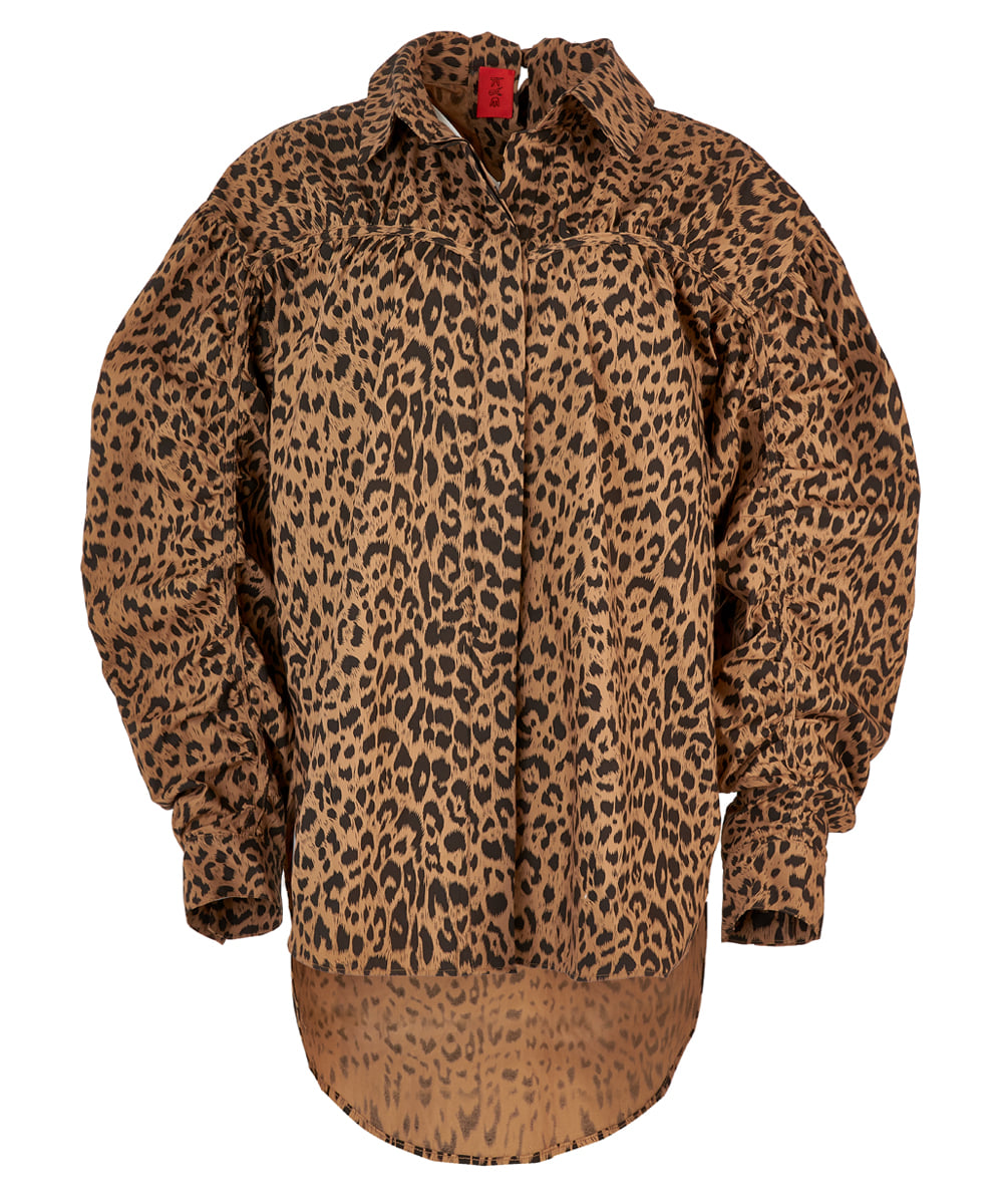 [FW20] LEOPARD PUFF-SLEEVE RUCHED-DETAIL OVERSIZED BLOUSE (KYTZ7BLR08W)